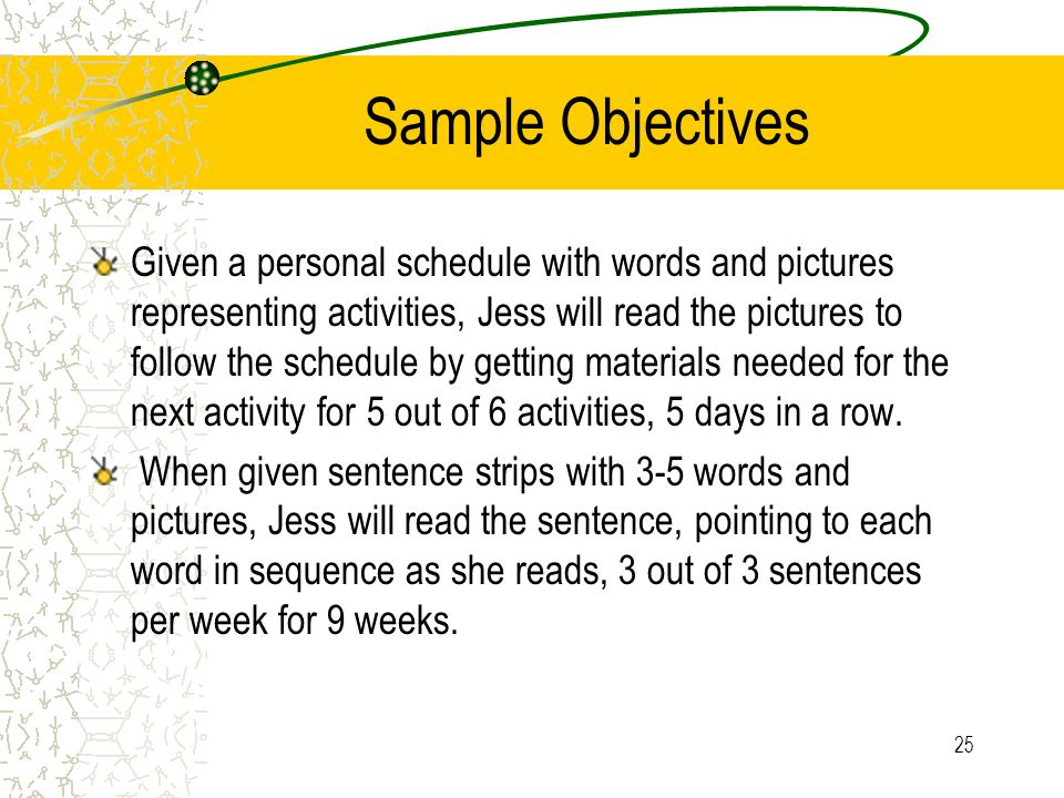 Sample Objectives