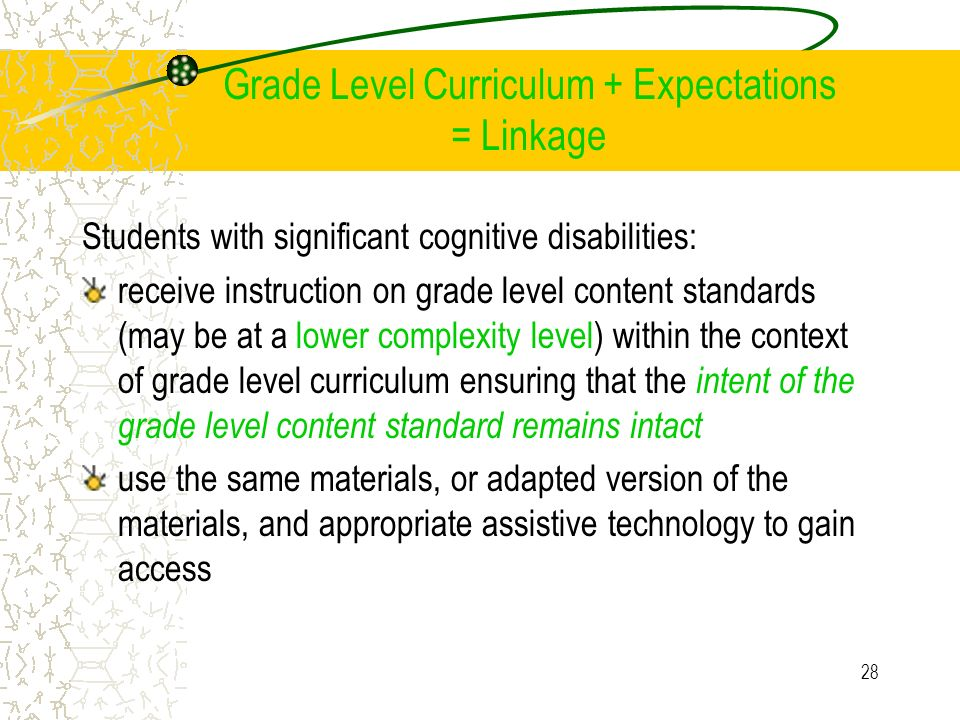 Grade Level Curriculum + Expectations = Linkage