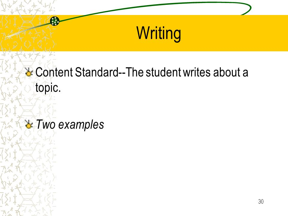 Writing Content Standard--The student writes about a topic.