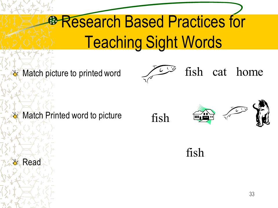 Research Based Practices for Teaching Sight Words