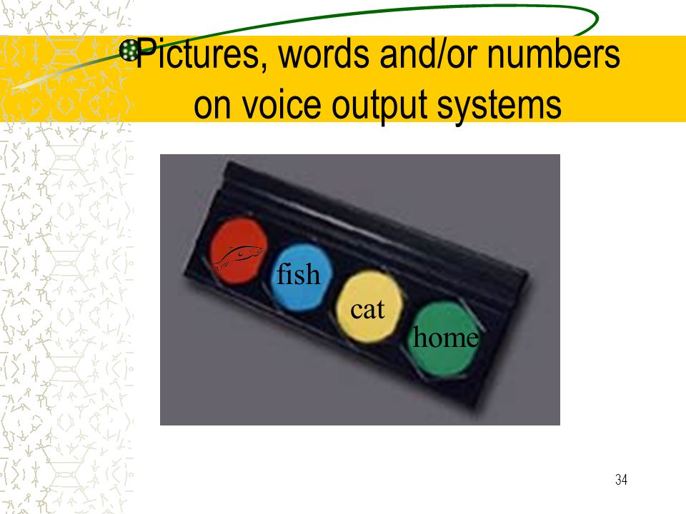 Pictures, words and/or numbers on voice output systems