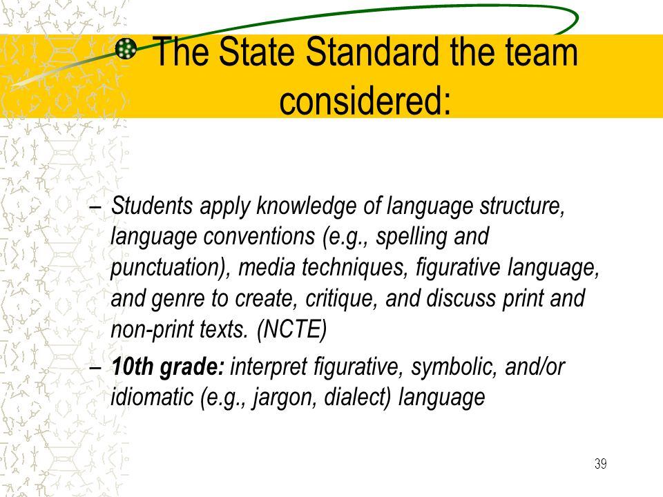 The State Standard the team considered: