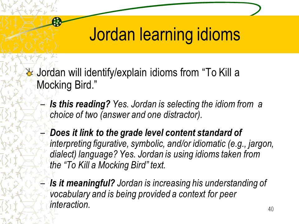 Jordan learning idioms
