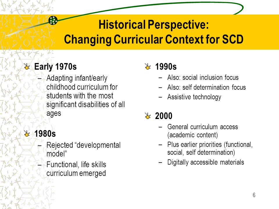 Historical Perspective: Changing Curricular Context for SCD