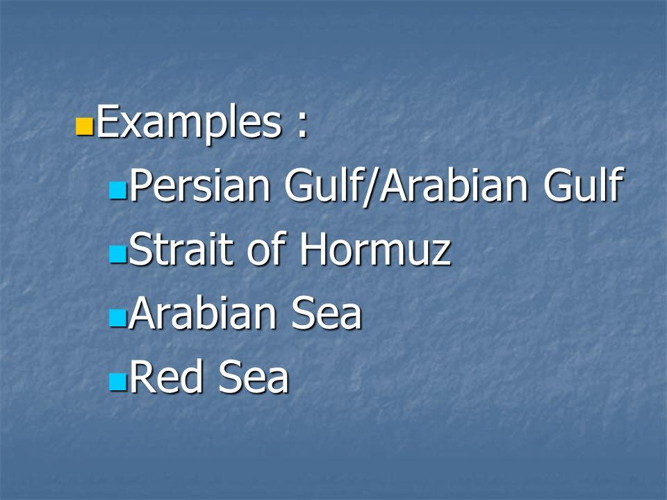 Examples : Persian Gulf/Arabian Gulf Strait of Hormuz Arabian Sea Red Sea