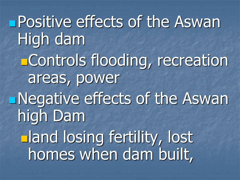 Positive effects of the Aswan High dam