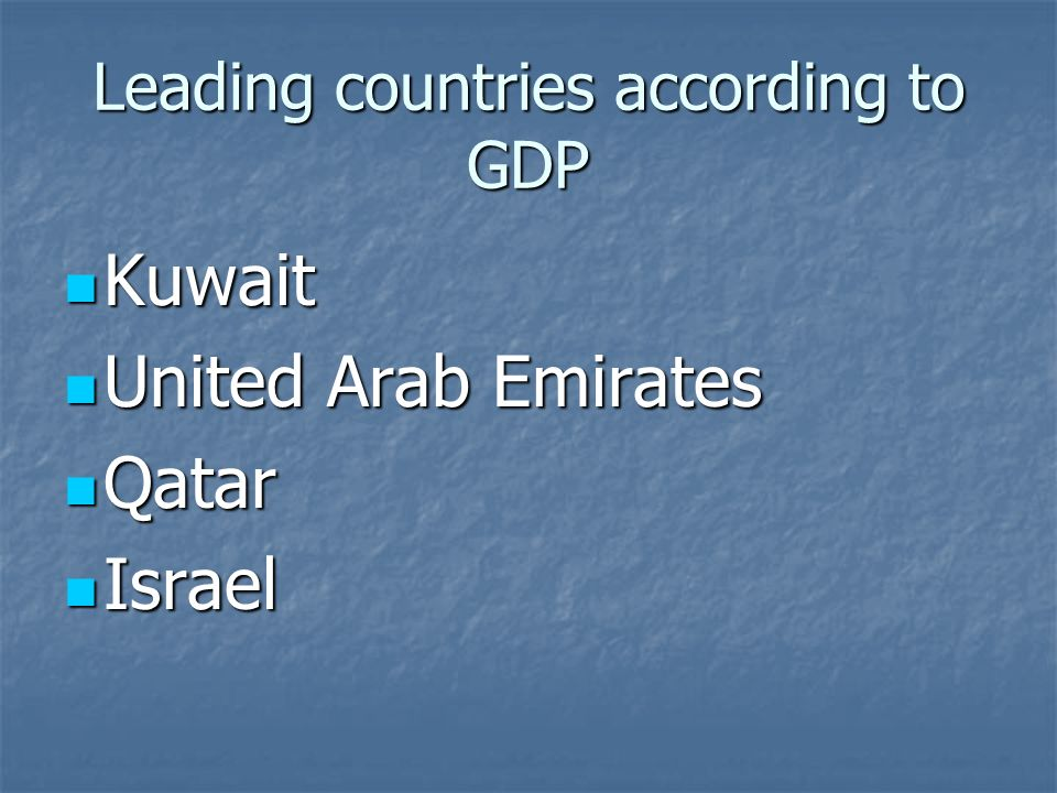 Leading countries according to GDP