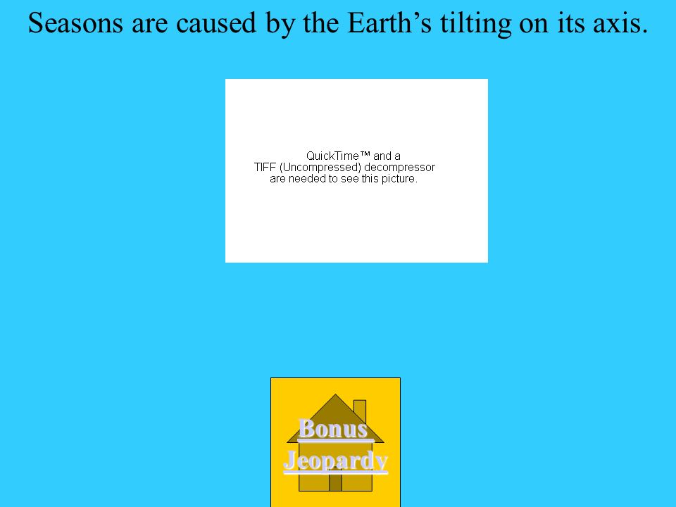 Seasons are caused by the Earth's tilting on its axis.