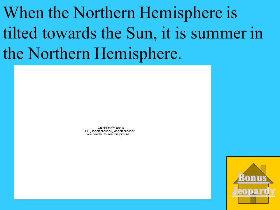 When the Northern Hemisphere is tilted towards the Sun, it is summer in the Northern Hemisphere.