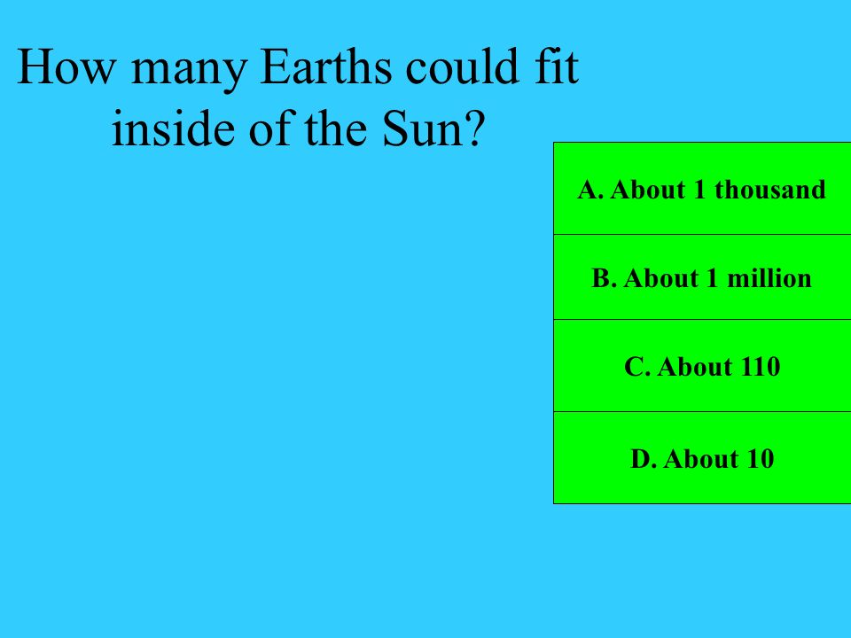 How many Earths could fit inside of the Sun
