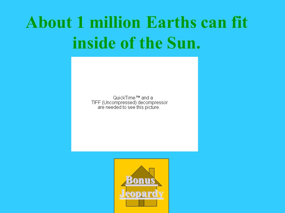 About 1 million Earths can fit inside of the Sun.