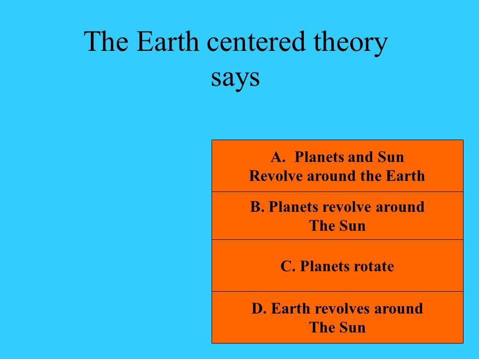 The Earth centered theory says