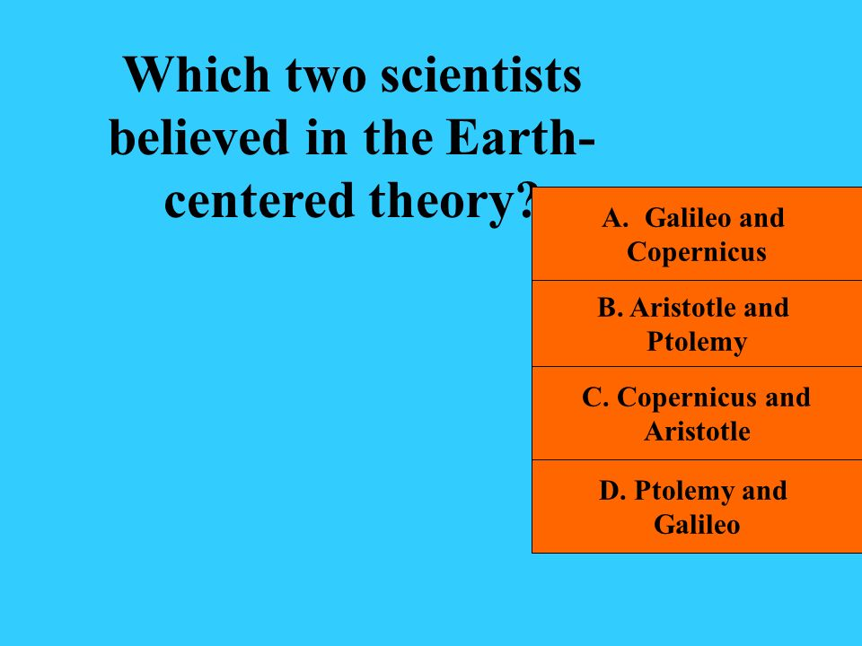 Which two scientists believed in the Earth-centered theory