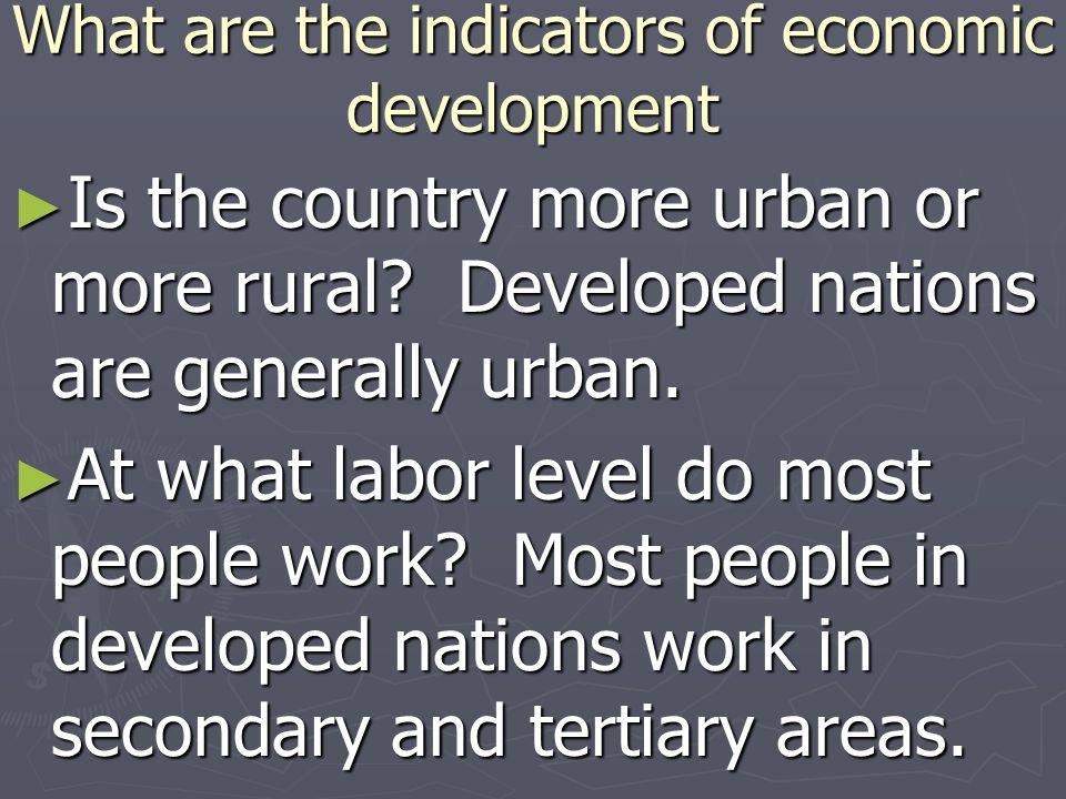 What are the indicators of economic development