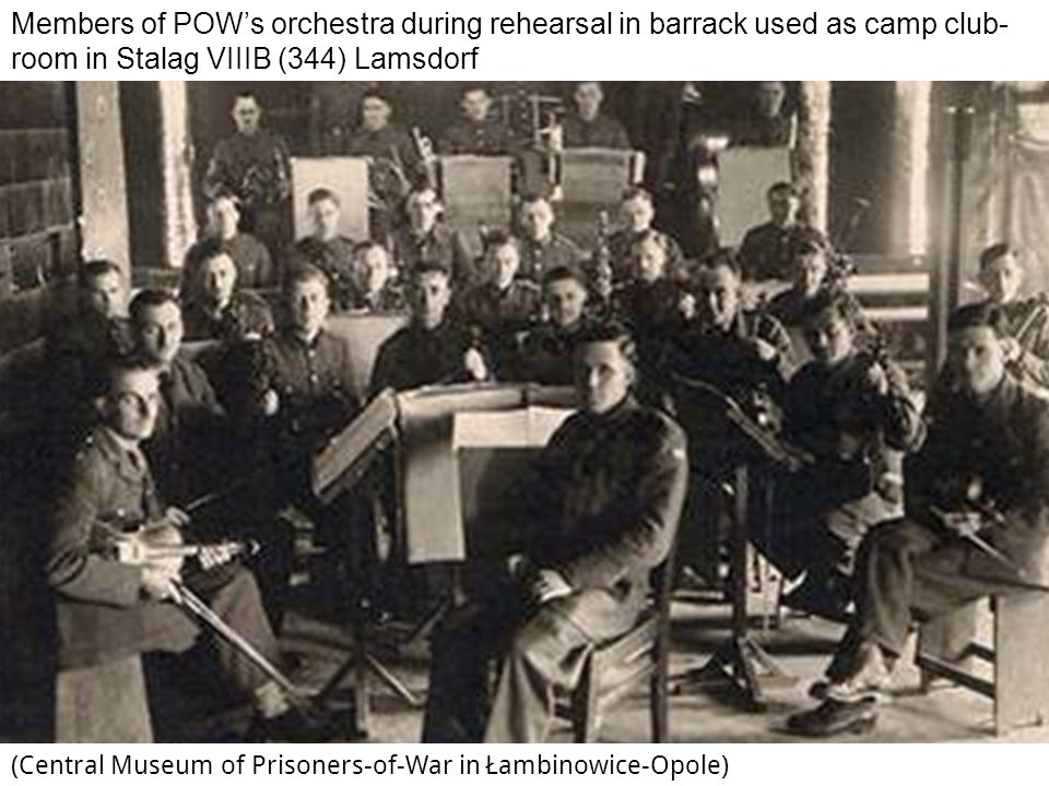 Members of POW's orchestra during rehearsal in barrack used as camp club-room in Stalag VIIIB (344) Lamsdorf