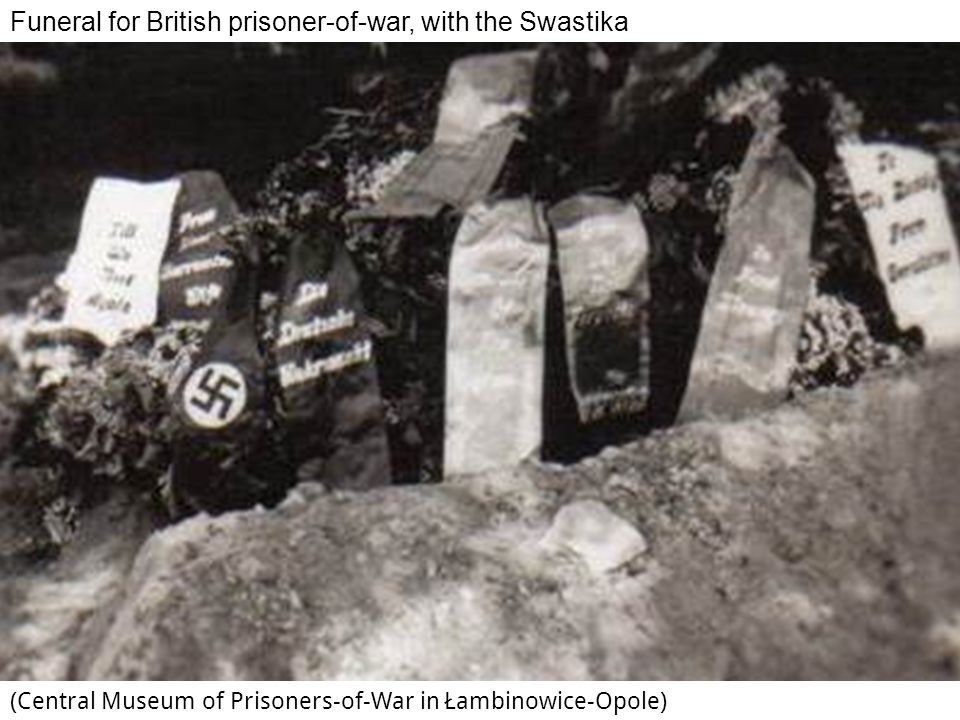 Funeral for British prisoner-of-war, with the Swastika