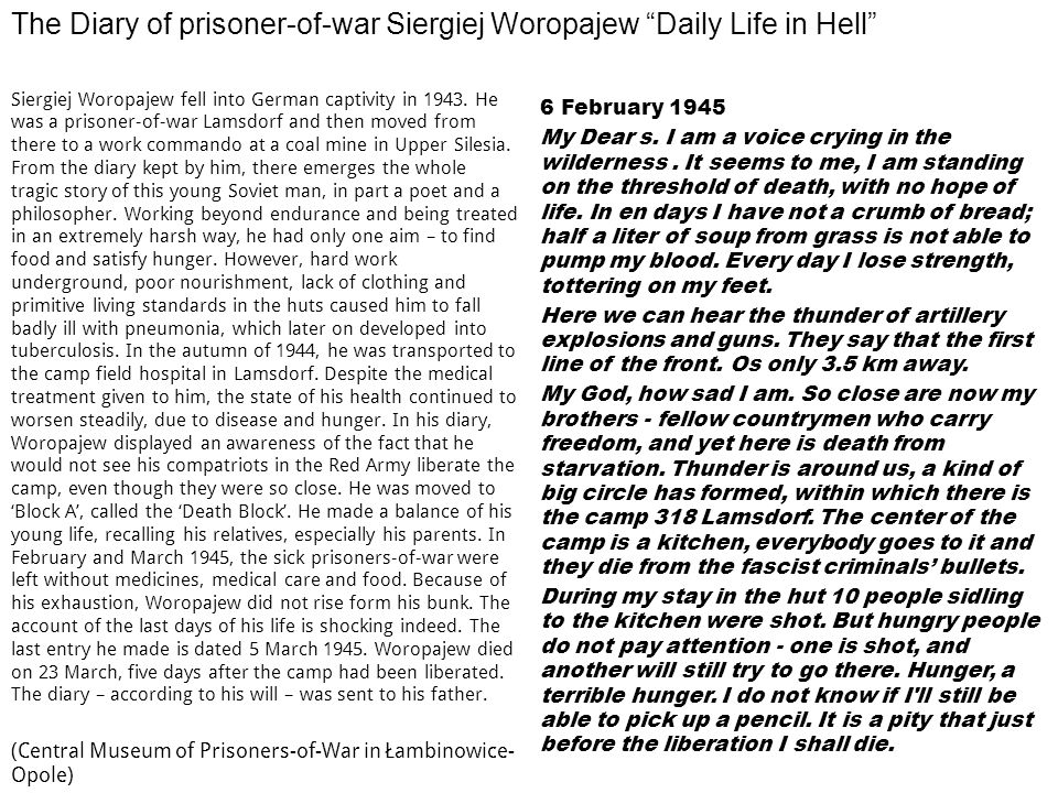 The Diary of prisoner-of-war Siergiej Woropajew Daily Life in Hell