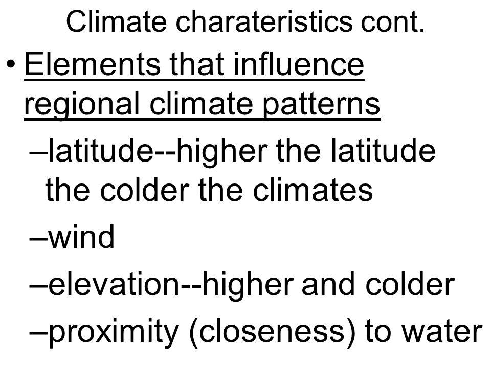 Climate charateristics cont.