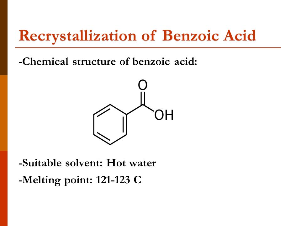 recrystallization benzoic acid 1 Record the trial 2 mp range (t1 and t2) for benzoic acid  after performing the  recrystallization, the percent recovery of acetanilide will be determined.