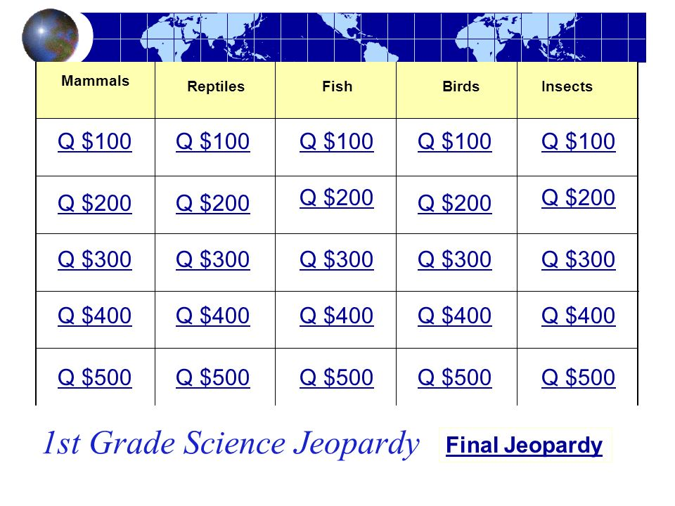 1st Grade Science Jeopardy