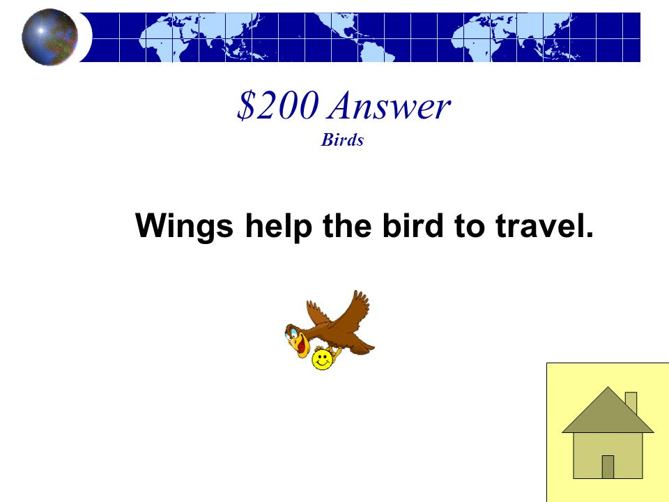 $200 Answer Birds Wings help the bird to travel.
