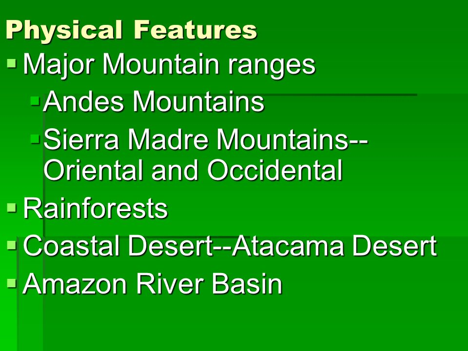 Sierra Madre Mountains--Oriental and Occidental Rainforests