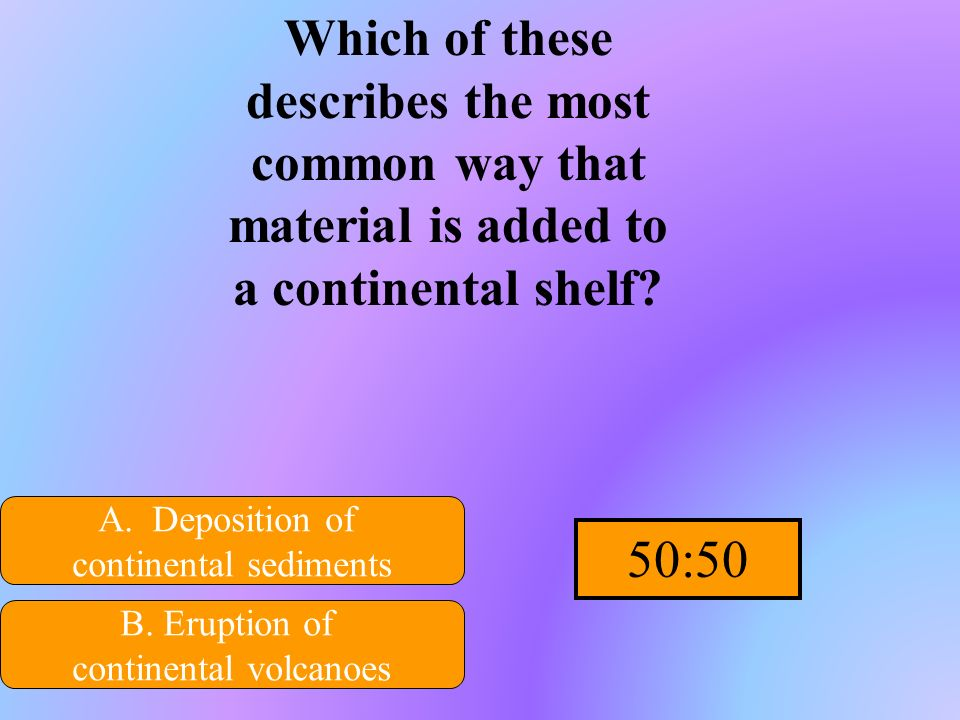 Which of these describes the most common way that material is added to a continental shelf