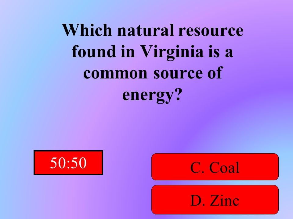 Which natural resource found in Virginia is a common source of energy