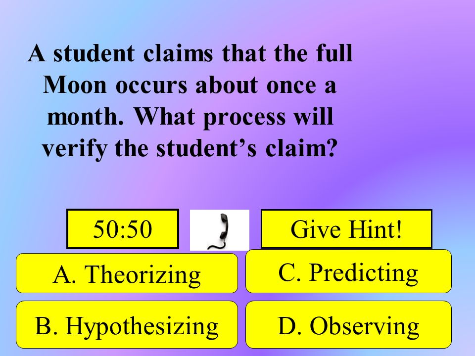 A student claims that the full Moon occurs about once a month