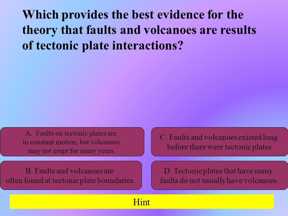 Which provides the best evidence for the theory that faults and volcanoes are results of tectonic plate interactions