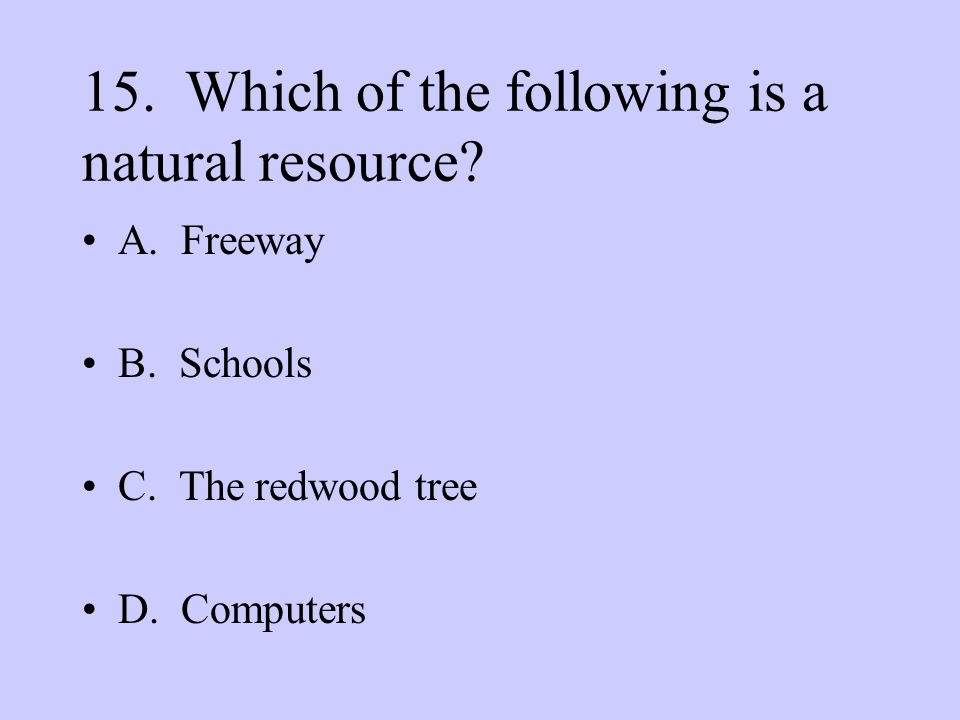 15. Which of the following is a natural resource