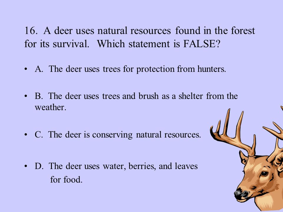 16. A deer uses natural resources found in the forest for its survival