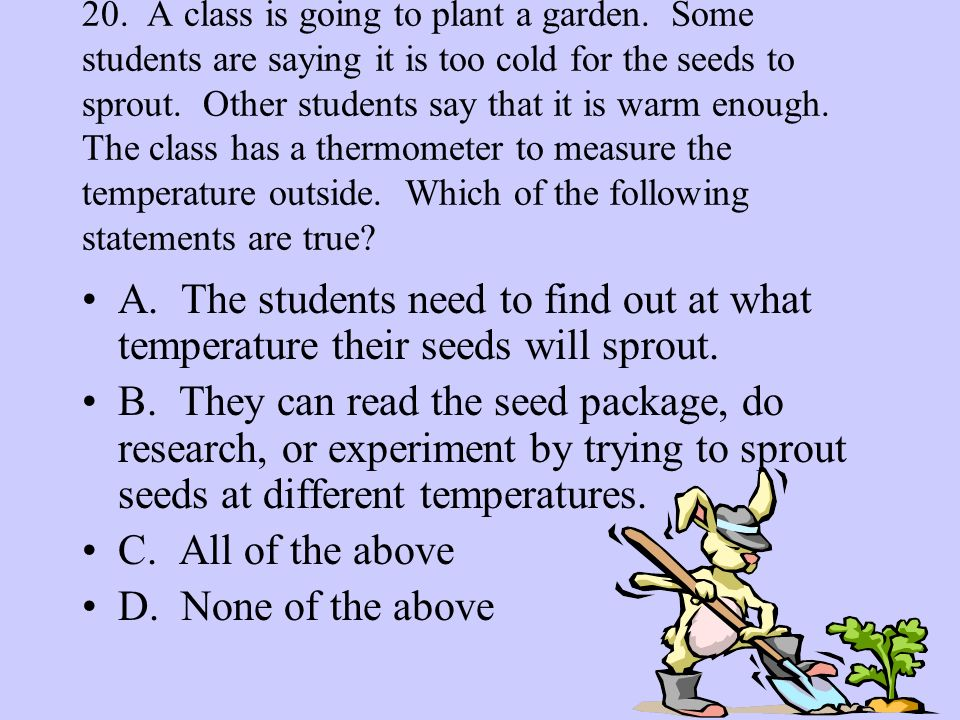 20. A class is going to plant a garden