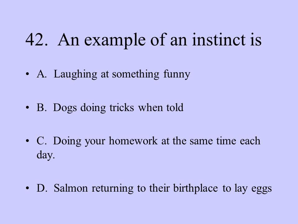 42. An example of an instinct is