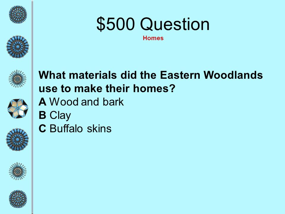 $500 Question Homes What materials did the Eastern Woodlands