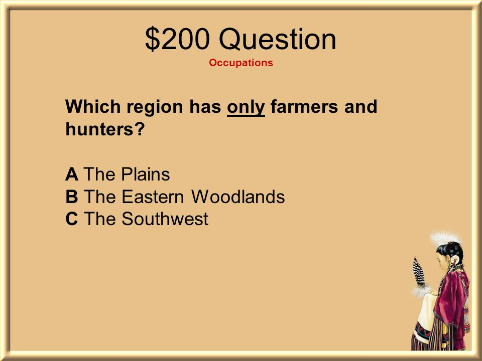 $200 Question Occupations