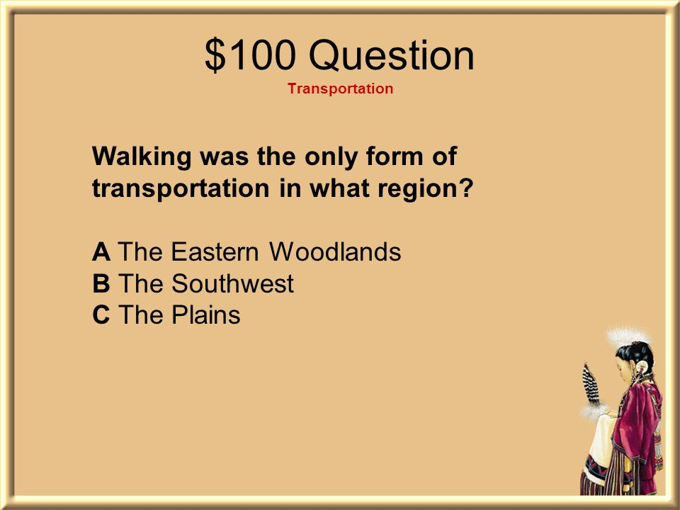 $100 Question Transportation