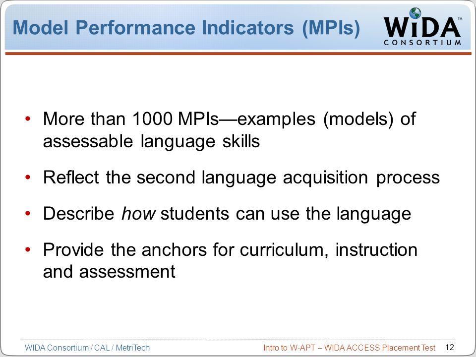 Model Performance Indicators (MPIs)