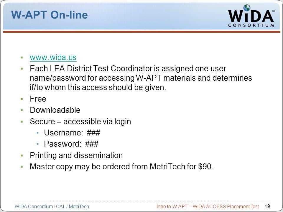 W-APT On-line www.wida.us