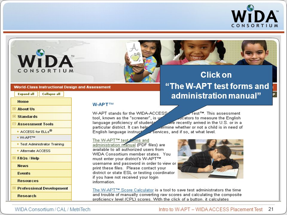 The W-APT test forms and administration manual