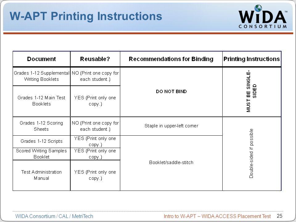 W-APT Printing Instructions