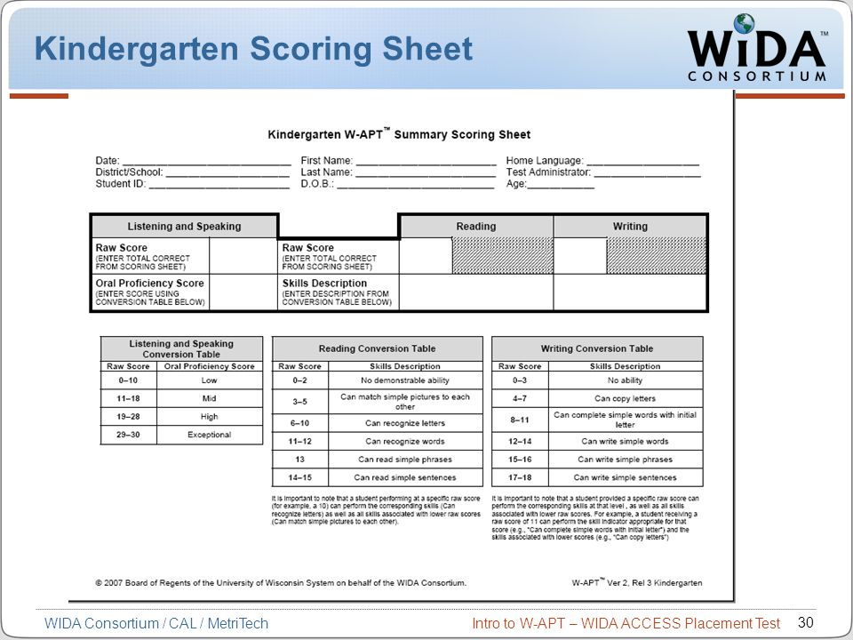 Kindergarten Scoring Sheet