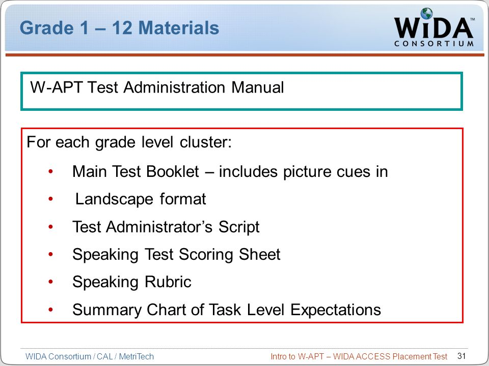 Grade 1 – 12 Materials W-APT Test Administration Manual