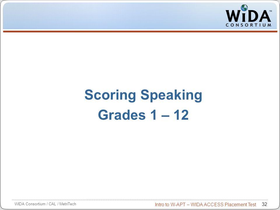 Scoring Speaking Grades 1 – 12