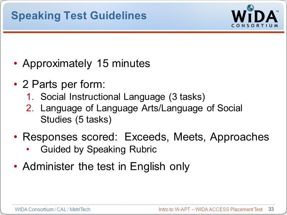 Speaking Test Guidelines