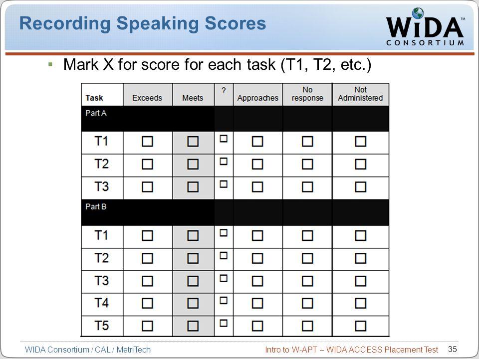 Recording Speaking Scores