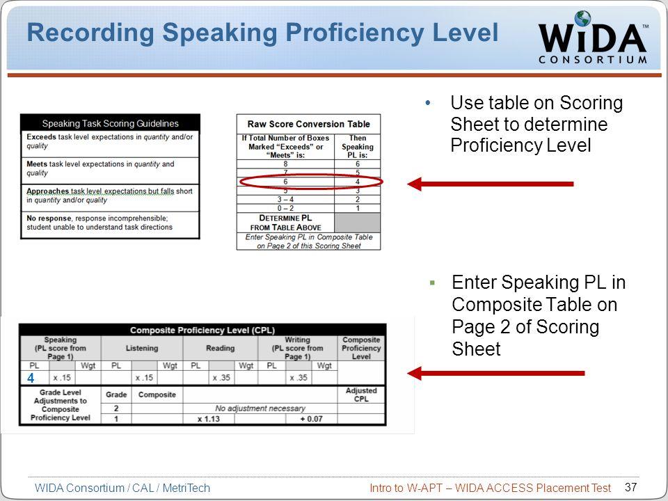 Recording Speaking Proficiency Level
