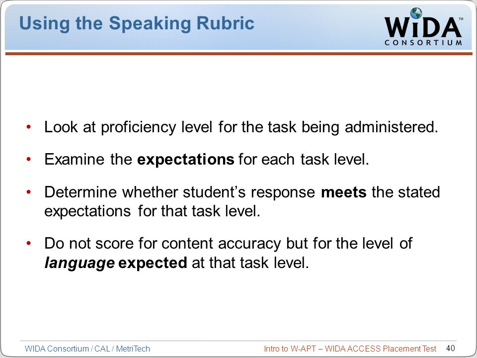 Using the Speaking Rubric