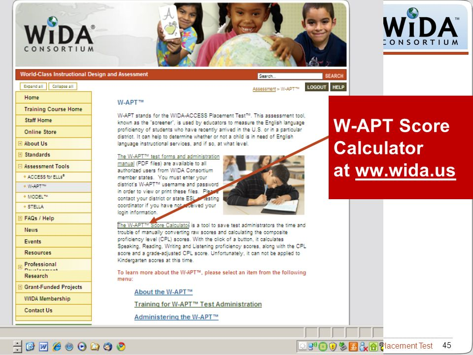 W-APT Score Calculator at ww.wida.us