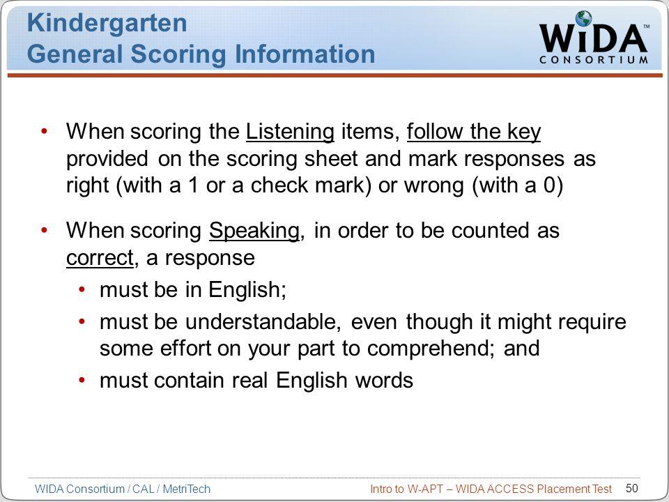 Kindergarten General Scoring Information